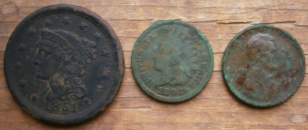 Nice 1851 Large cent and more, including a 1909-VDB Lincoln cent, found in RI.