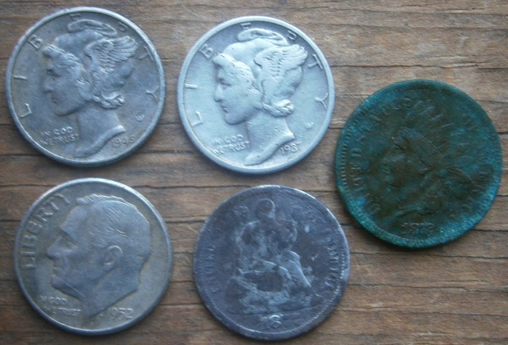 Coins from a trip to FR parks- trifecta of silver dimes, including an 1877 Seated Liberty, and an amazing 1872 Indian Head penny- a non-found example in this condition is worth several hundred $$