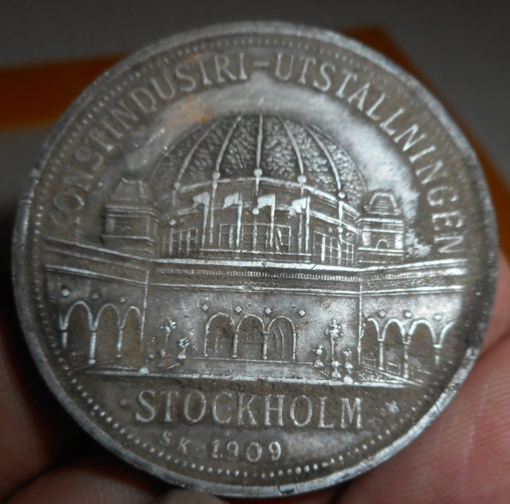 Giant silver Swedish commemorative coin from 1909- found in Newton- awesome find!