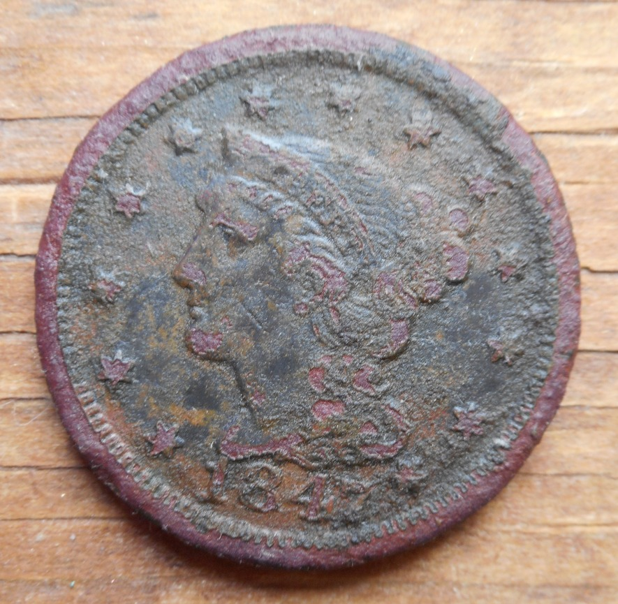 Found in Yarmouth park, this 1847 Large Cent looked much better until I tried to clean it a bit.