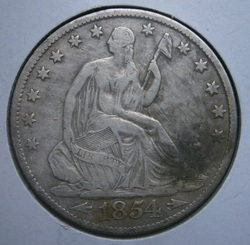 Obverse of a nice 1854-O (New Orleans mint) Seated Liberty half dollar, found in FR.