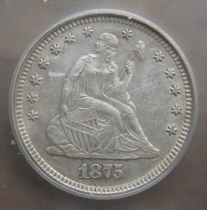 Yet another beauty from my fav FR park, this 1875 Seated Liberty quarter looks like it was dropped the day it was acquired from the bank- PCGS later certified this coin as AU, scratched..