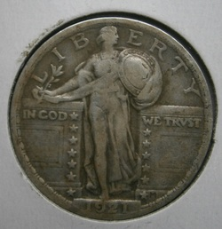 Key-date, 1921 Standing Liberty Quarter. Chiseled out of frozen ground at FR park, thus the scratch on the reverse..