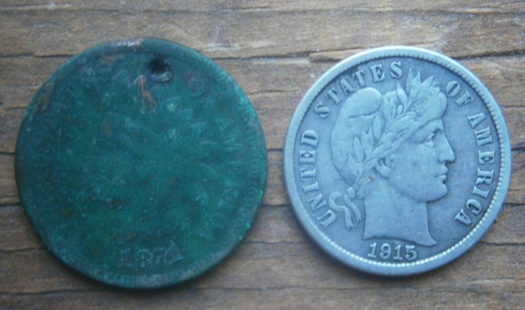 Really nice 1915 Barber dime and semi-key date 1871 Indian Head penny- found in RI