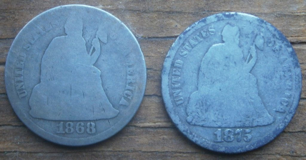 Pair of Seated Liberty dimes, found in October, 2014- 1868 & 1875