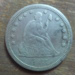 1877 Seated quarter obverse- found at the same time as the 1876 quarter in Plympton