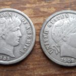 Obverses of a pair of sweet Barber dimes found in FR