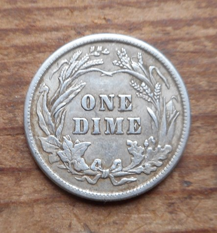 Reverse of 1913 Barber dime- nice shape