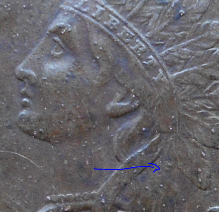 Closeup of 1864 L Indian found in Yarmouth Park- 4/20