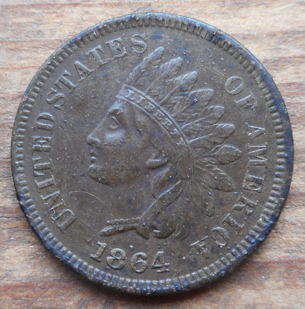 Obverse of 1864 Indians found in Yarmouth Park- 4/20- coin is the L on ribbon variety