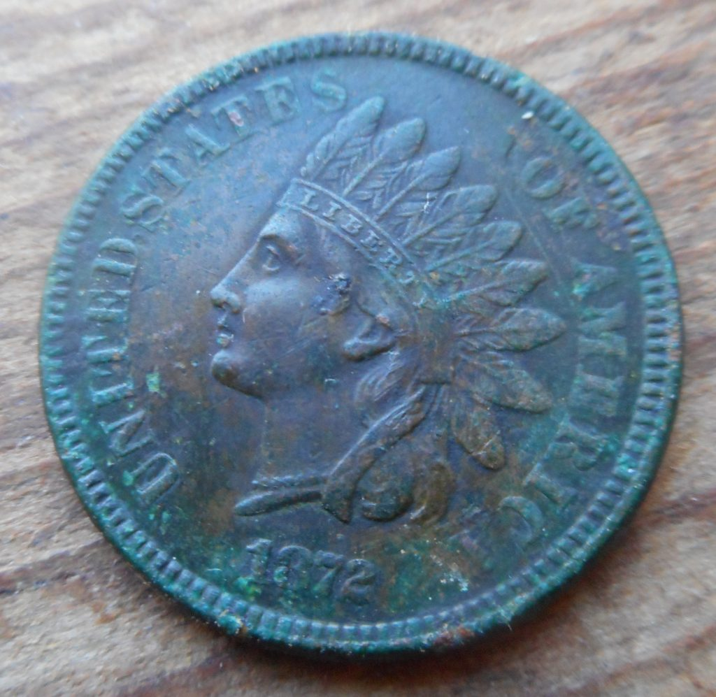 Obverse of rare date 1872 Indian cent- RI Park