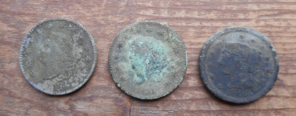 Obverse of 3 recent LC finds- all uncleaned- 1816, 1831, 1848