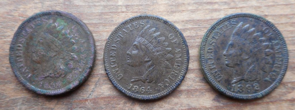 Obverse of 3 Indians found in Yarmouth Park- 4/20- 1864 is the L on ribbon variety